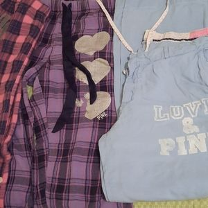 3 Pairs of Pink PJ pants 2 large one Medium